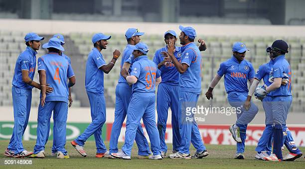 Team India celebrates as they qualify for the ICC U19 World Cup Final after winning the SemiFinal match between India and Sri Lanka on February 9...