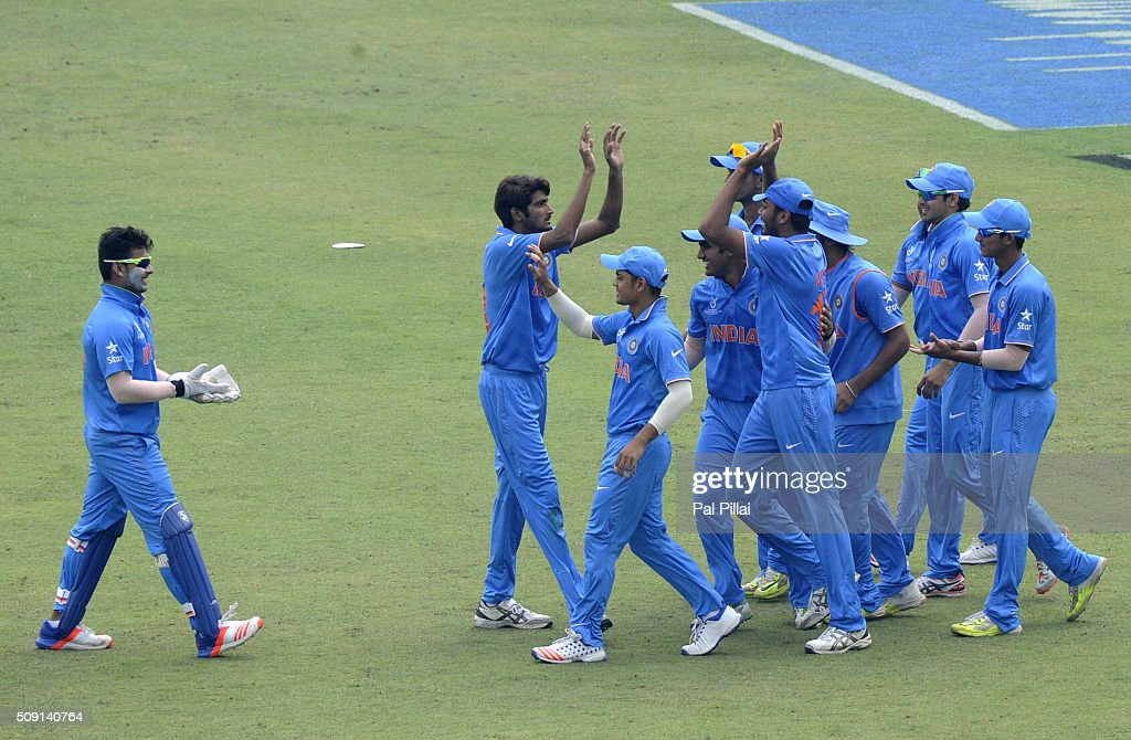 Team India celebrates the wicket of Kaveen Bandara of Sri Lanka during the ICC U19 World Cup Semi-Final match between India and Sri Lanka on February 9, 2016 in Dhaka, Bangladesh.