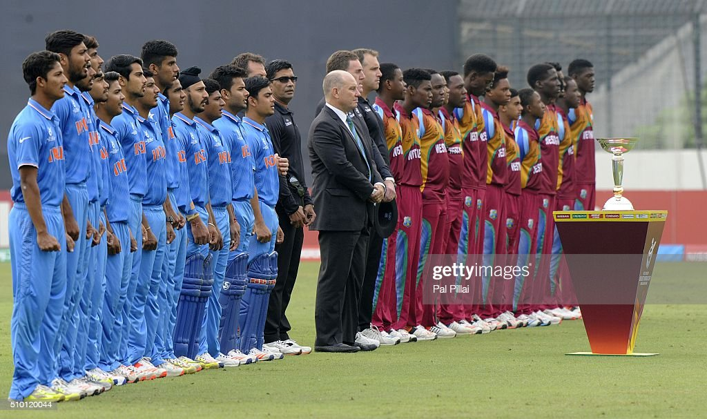 Team India U19 and Team West Indies U19 line up for the national anthem during the ICC U19 World Cup Final Match between India and West Indies on February 14, 2016 in Dhaka, Bangladesh.
