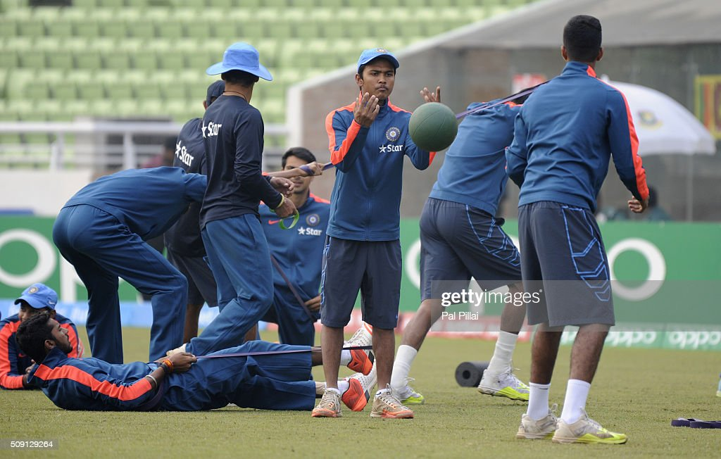 Team India U19 during a warm up session before the ICC U19 World Cup Semi-Final match between India and Sri Lanka on February 9, 2016 in Dhaka, Bangladesh.