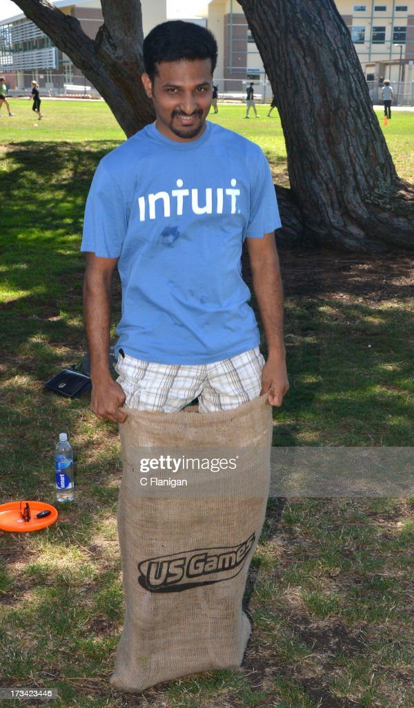 Team intuit members participate in the Burlap Sack Race during the Founder Institute's Silicon Valley Sports League event on July 13, 2013 in Palo Alto, California.