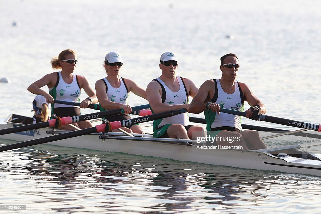 Team Ireland with (L-R) Anne-Marie Mc Daid, Sarah Caffrey, Shane Ryan, Kevin Du Toit and Helen Arbuthnot compete in the Adaptive Events Mixed Couxed Four heat during the 2012 Samsung World Rowing Cup III at the Ruderregattastrecke on June 14, 2012 in Munich, Germany.