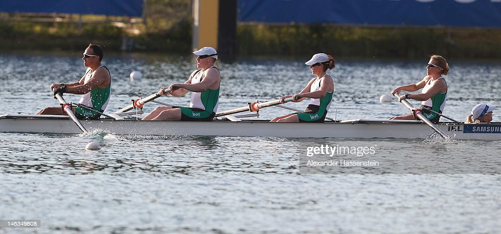 Team Ireland with (R-L) Anne-Marie Mc Daid, Sarah Caffrey, Shane Ryan, Kevin Du Toit and Helen Arbuthnot compete in the Adaptive Events Mixed Couxed Four heat during the 2012 Samsung World Rowing Cup III at the Ruderregattastrecke on June 14, 2012 in Munich, Germany.