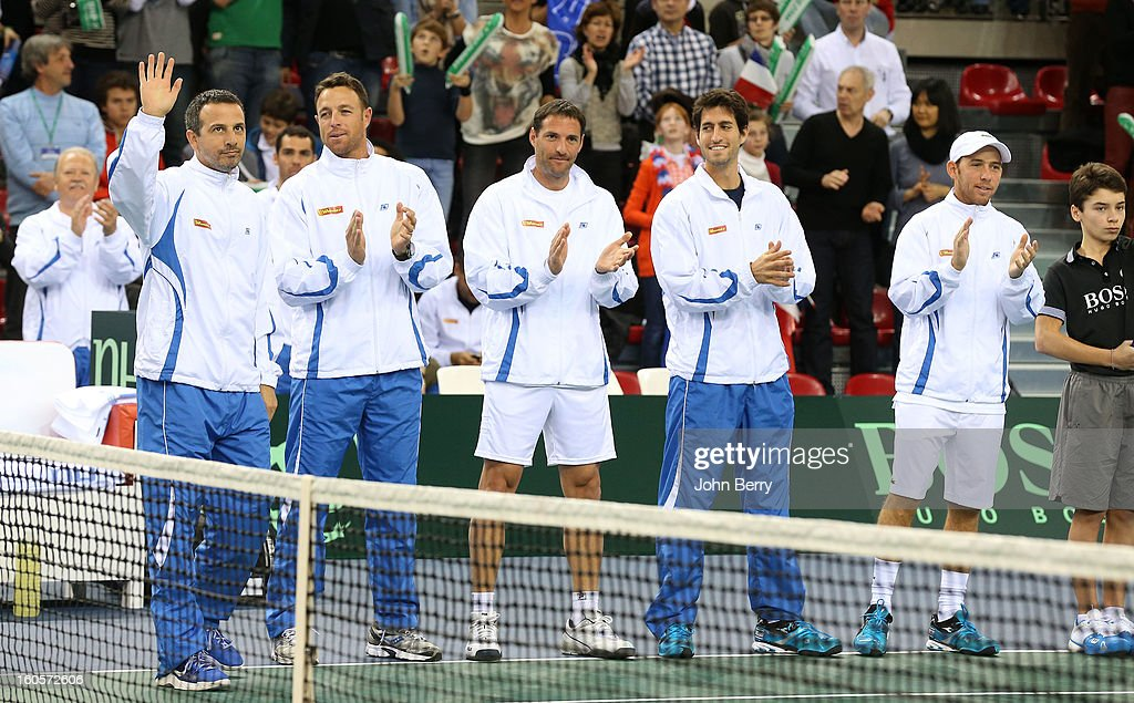 Eyal Ran, coach, Noam Okun, Jonathan Erlich, Amir Weintraub, Dudi Sela pose during the teams presentation on day two of the Davis Cup first round match between France and Israel at the Kindarena stadium on February 2, 2013 in Rouen, France.