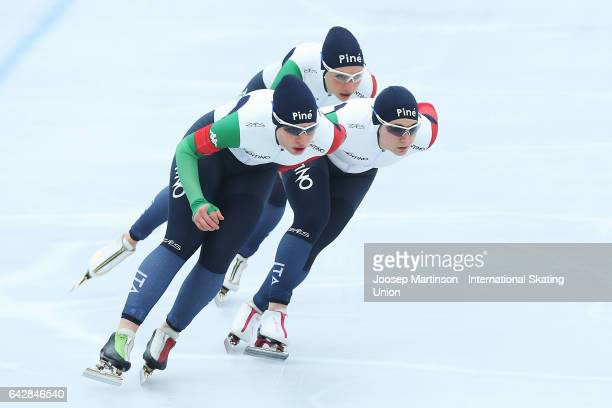 Team Italy compete in the ladies team pursuit during day three of the World Junior Speed Skating Championships at Oulunkyla Sports Park on February...