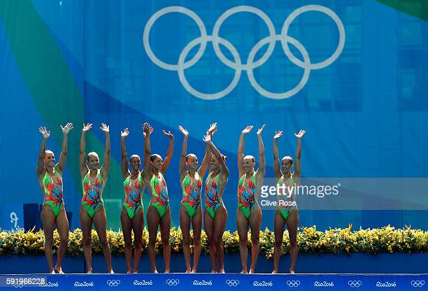 Team Italy competes in the Synchronised Swimming Teams Free Routine on Day 14 of the Rio 2016 Olympic Games at the Maria Lenk Aquatics Centre on...