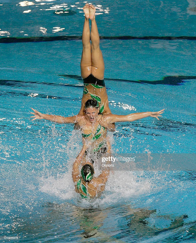 Team Italy performs in the Free Combination Routine Final at the synchronized swimming event during the 12th FINA World Championships at the Rod...