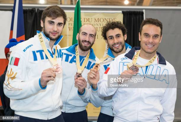 Team Italy's Enrico Garozzo Andrea Santarelli Marco Fichera Paolo Pizzo show their bronze medals won during team competition at the Peter Bakonyi...