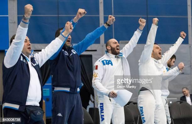 Team Italy's Marco Fichera Enrico Garozzo Paolo Pizzo Andrea Santarelli celebrate a point during team competition at the Peter Bakonyi Senior Men's...