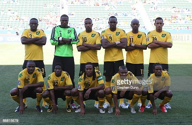 Team Jamaica poses for a photo prior to their match against Canada during the 2009 CONCACAF Gold Cup at The Home Depot Center on July 3 2009 in...