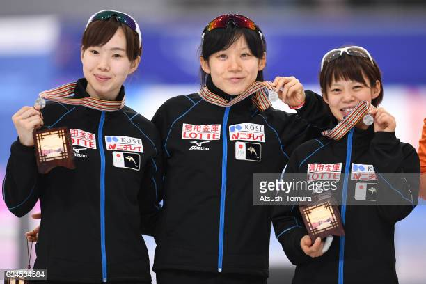 Team Japan celebrate with their medals for the ladies team pursuit during the ISU World Single Distances Speed Skating Championships Gangneung Test...