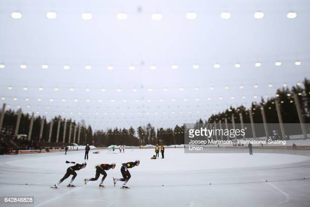 Team Japan compete in the ladies team pursuit during day three of the World Junior Speed Skating Championships at Oulunkyla Sports Park on February...