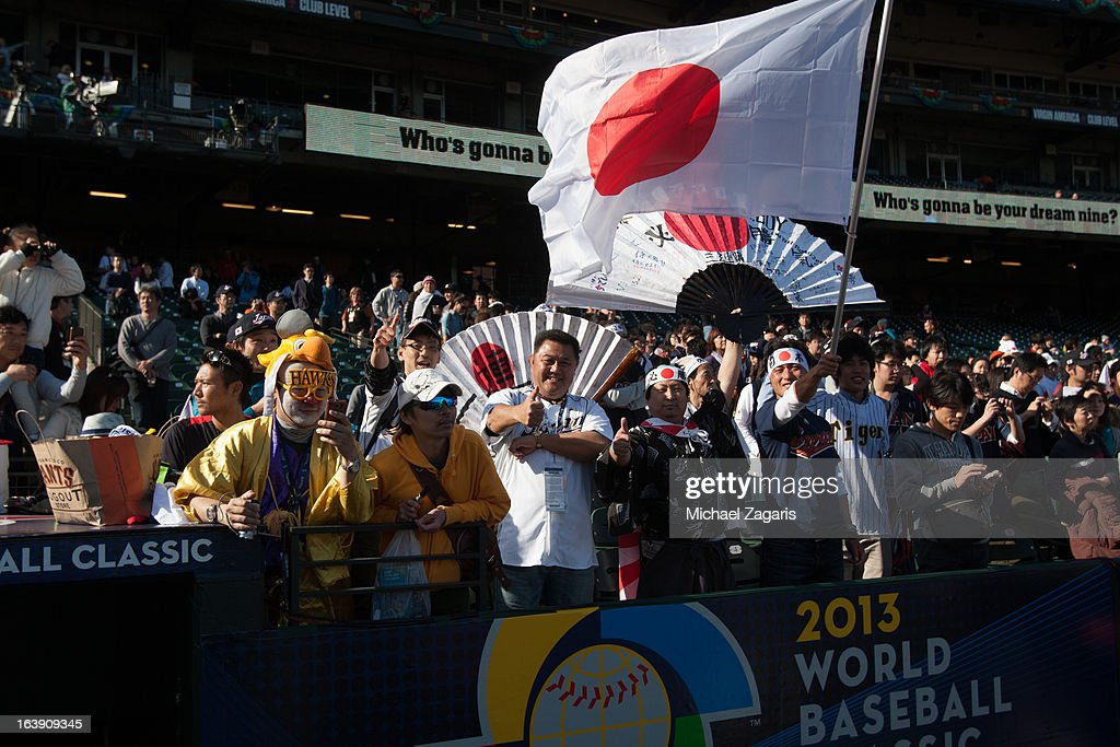 Team Japan fans are seen in the stands before the semi-final game against Team Puerto Rico in the championship round of the 2013 World Baseball Classic on Sunday, March 17, 2013 at AT&T Park in San Francisco, California.
