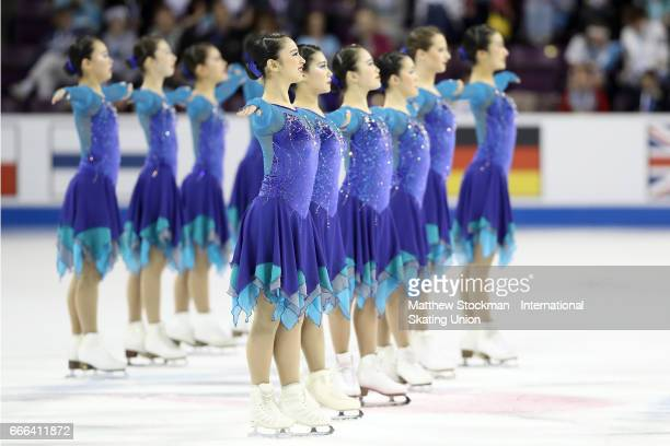 Team Japan Jingu Ice Messengers competes in the free skate during the ISU Wolrd Figure Skating Championships on April 8 2017 in Colorado Springs...