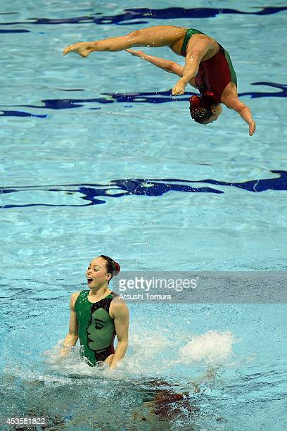 Team Japan perform the Free Combination Routine during the Japan Synchro Challenge Cup 2014 at Tatsumi International Pool on August 10 2014 in Tokyo...