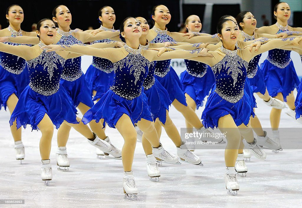 Team Japan performs during the free skating competition of the ISU World Synchronized Skating Championships at Agganis Arena on April 6, 2013 in Boston, Massachusetts.