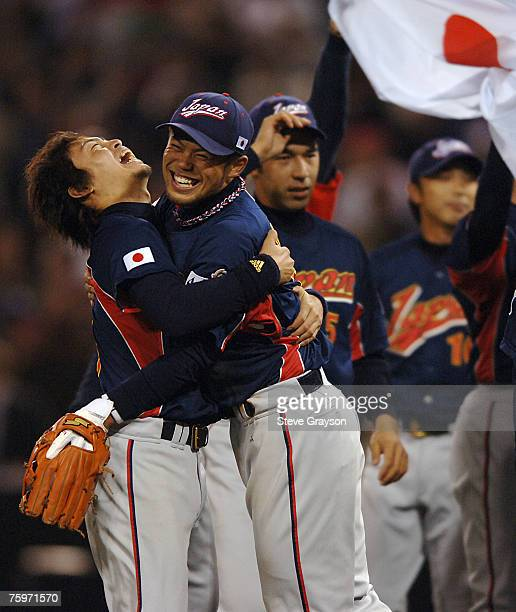 Team Japan players celebrate after defeating Cuba in the Championship Game of the of the 2006 World Baseball Classic at PETCO Park in San Diego...