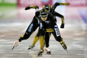 Team Japan with Masako Hozumi Ayaka Kikuchi and Miho Takagi compete in the Team Pursuit Ladies on the final day of the Essent ISU World Cup Speed...