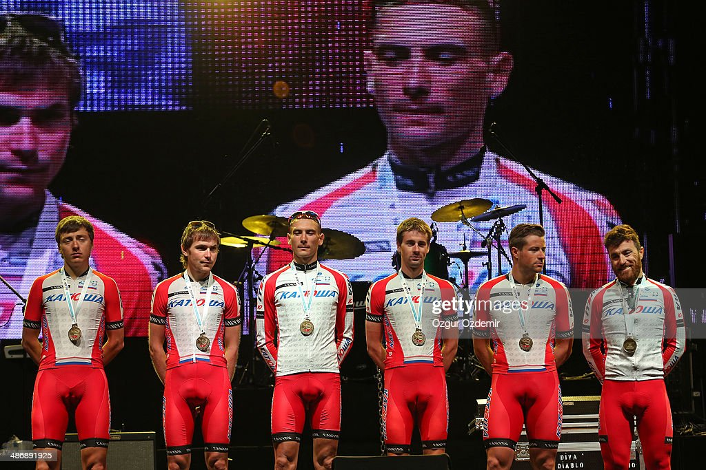 Team Katusha attends the opening ceremony of the 50th Presidential Cycling Tour at Alanya in the Mediterranean resorty city April 26, 2014 in Antalya, Turkey. The Tour which will be held between April 27 and May 4 in Turkey.