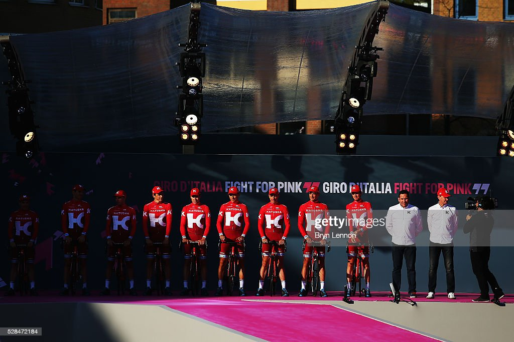 Team Katusha stands on the stage during the Opening Ceremony and official Team Presentation for the 2016 Giro d'Italia at the City Hall on May 05, 2016 in Apeldoorn, Netherlands.