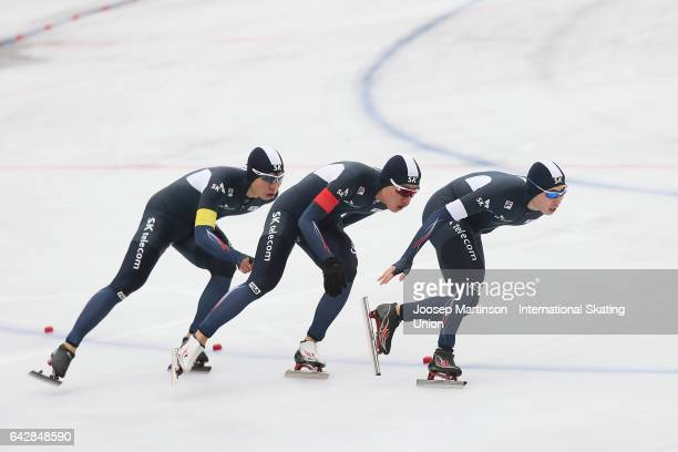 Team Korea compete in the men's team pursuit during day three of the World Junior Speed Skating Championships at Oulunkyla Sports Park on February 19...