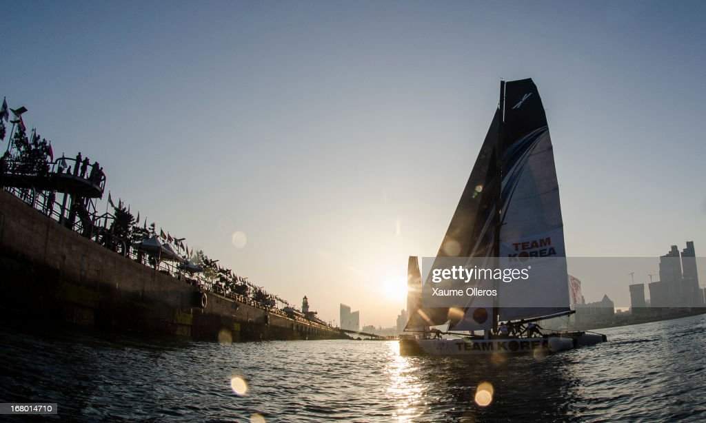 Team Korea in action during day three of the Extreme Sailing Series on May 4, 2013 in Qingdao, China.