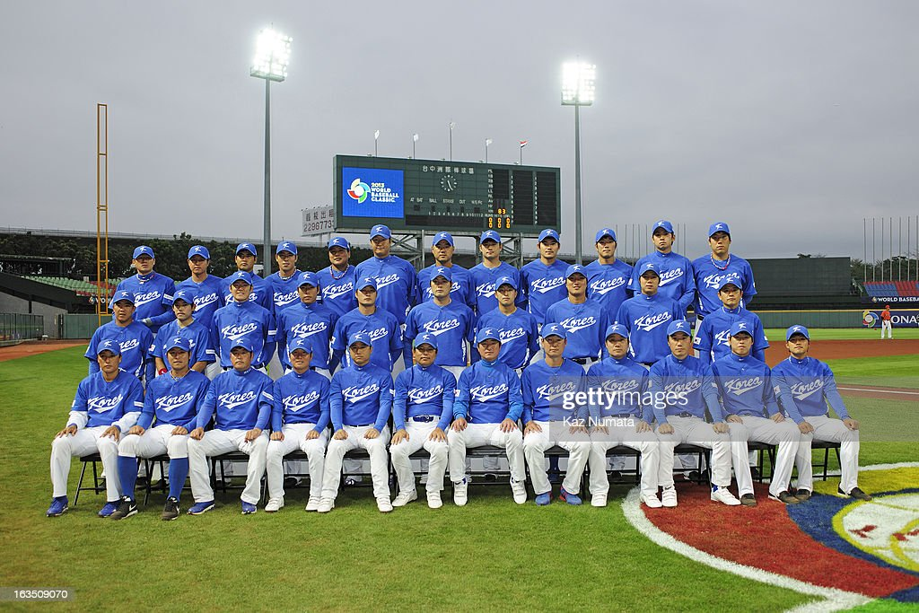 Team Korea poses for a team photo before Pool B, Game 2 between Team Korea and Team Netherlands during the first round of the 2013 World Baseball Classic at Taichung Intercontinental Baseball Stadium on Saturday, March 2, 2013 in Taichung, Taiwan.