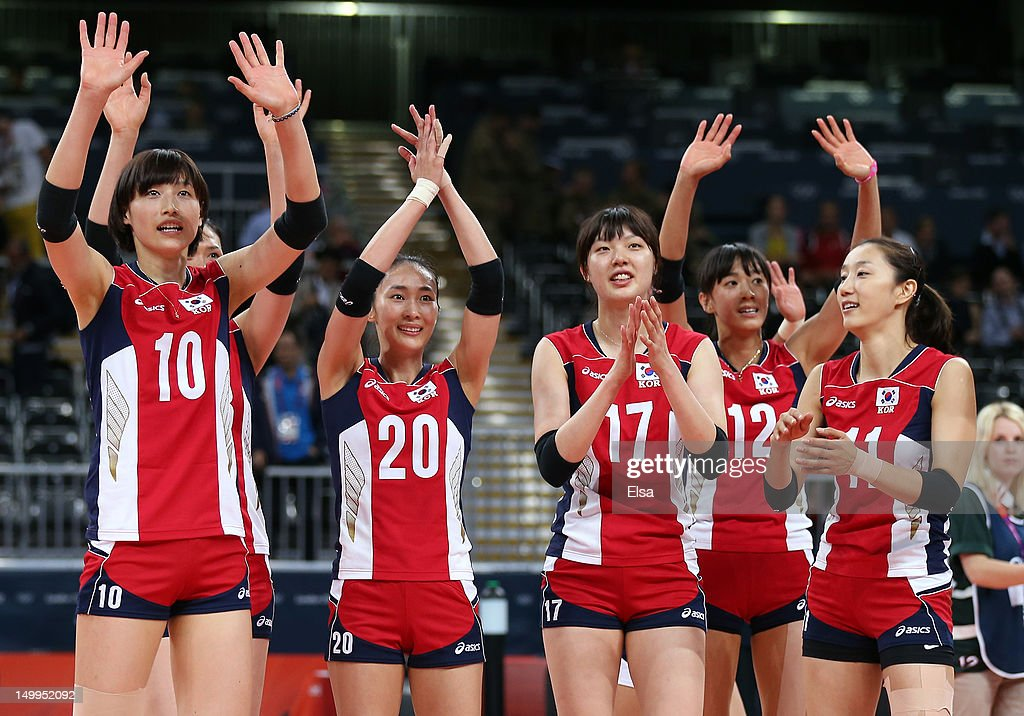 Team Korea salutes the fans after defeating Italy during Women's Volleyball quarterfinals on Day 11 of the London 2012 Olympic Games at Earls Court on August 7, 2012 in London, England.