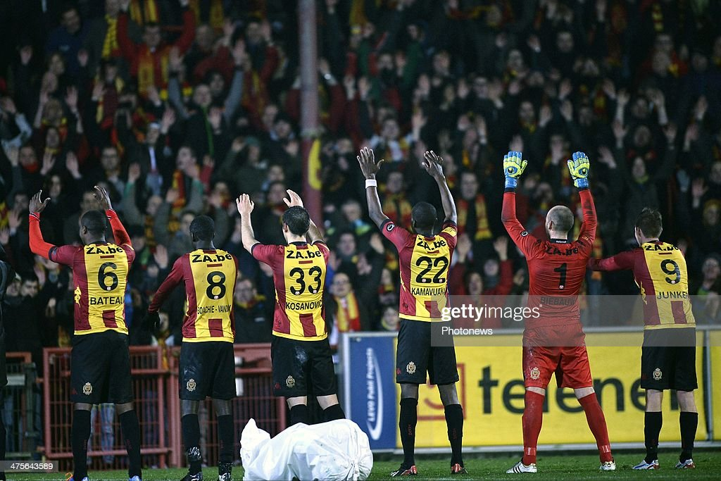 Team KV Mechelen celebrating the victory after the Jupiler Pro League match between KV Mechelen and Sporting Lokeren on February 28 2014 in the...