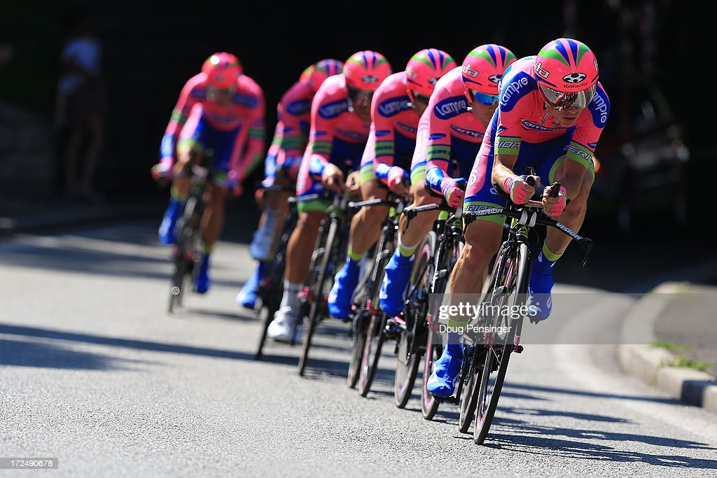 Team Lampre-Merida in action during stage four of the 2013 Tour de France, a 25KM Team Time Trial on July 2, 2013 in Nice, France.