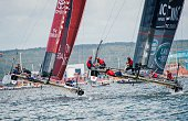 Team Land Rover BAR Britain and Emirates Team New Zealand compete in the second and last day of races of the 35th America's Cup World Series in...