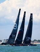 Team Land Rover BAR skippered by Sir Ben Ainslie battle to make the first turn first against Oracle Team USA skippered by Jimmy Spithall and Artemis...
