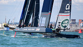 Team Land Rover BAR skippered by Sir Ben Ainslie in action round turn one during racing during day two of the Louis Vuitton America's Cup World...