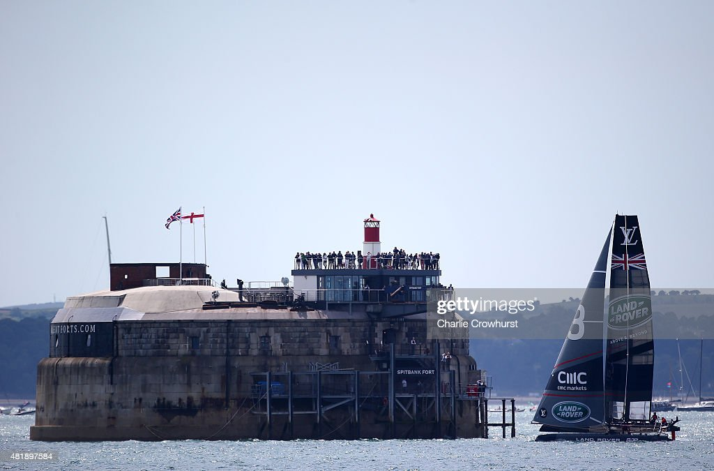 Team Land Rover BAR Skippered by Sir Ben Ainslie in race past Spitbank Fort during the official race on Day Three of the Louis Vuitton America's Cup World Series on July 25, 2015 in Portsmouth, England.