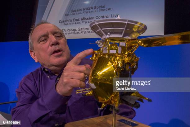 Team Lead for Cassini Ion and Neutral Mass Spectrometer Southwest Research institute Hunter Waite points to a model of of NASA's Cassini spacecraft...