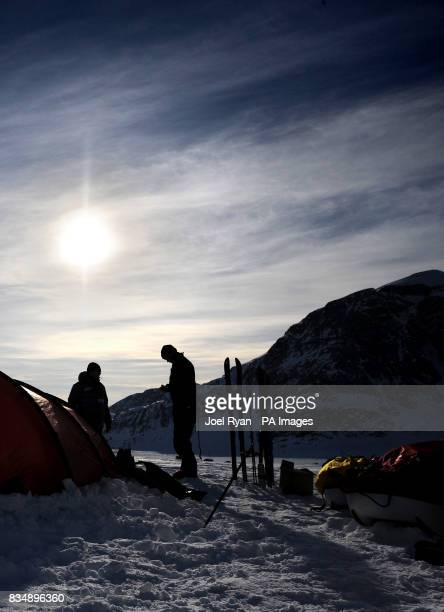 Team Leader Henry Worsley 47 with City worker Will Gow during a training run on the Korridoren glacier in Milne Land Greenland