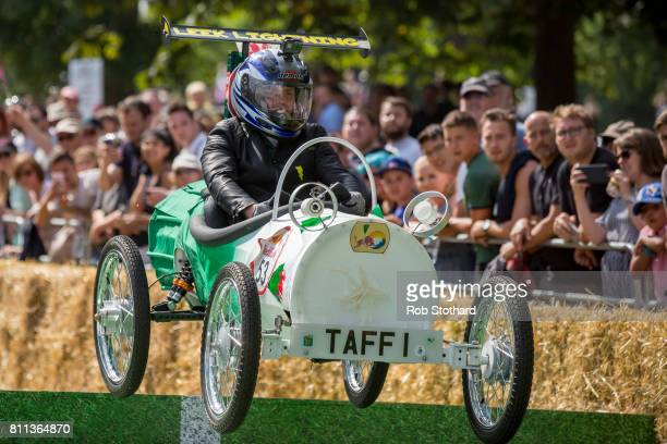 Team Leek Lighting take part in the The Red Bull Soapbox Race at Alexandra Palace on July 9 2017 in London England The event in which amateur drivers...