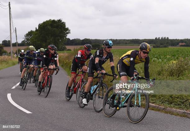 Team Lotto NL Jumbo's Gijs van Hoecke and Team Sky's Vasil Kiryienka approach Stradbroke in Suffolk during stage six of the OVO Energy Tour of...