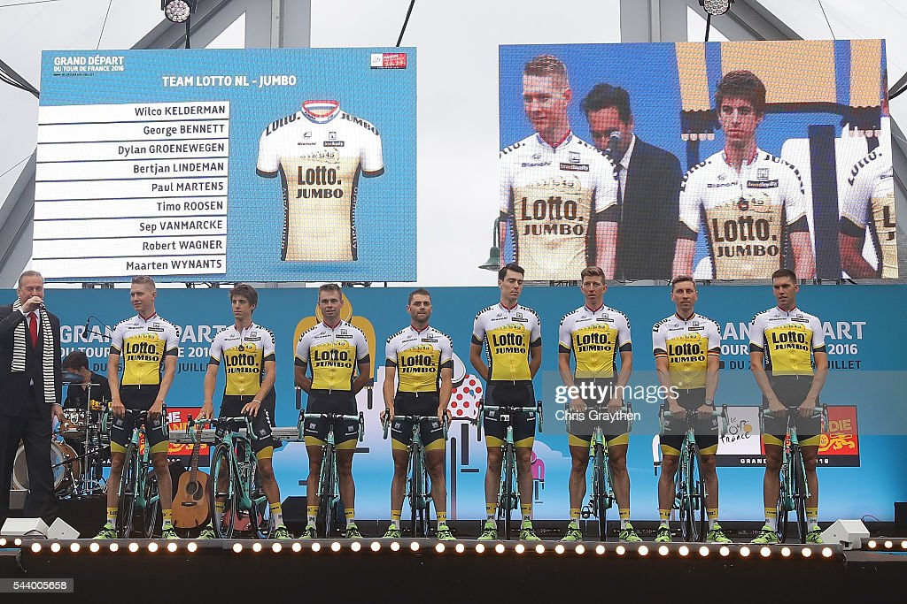 Team Lotto NL-Jumbo is introduced during the team presentation ahead of the 2016 Le Tour de France on June 30, 2016 in Sainte-Mere-Eglise, France.
