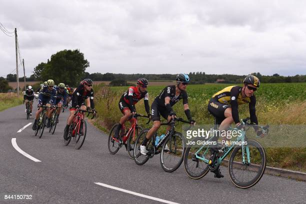 Team Lotto NLJumbo's Gijs van Hoecke and Team Sky's Vasil Kiryienka approach Stradbroke in Suffolk during stage six of the OVO Energy Tour of Britain...