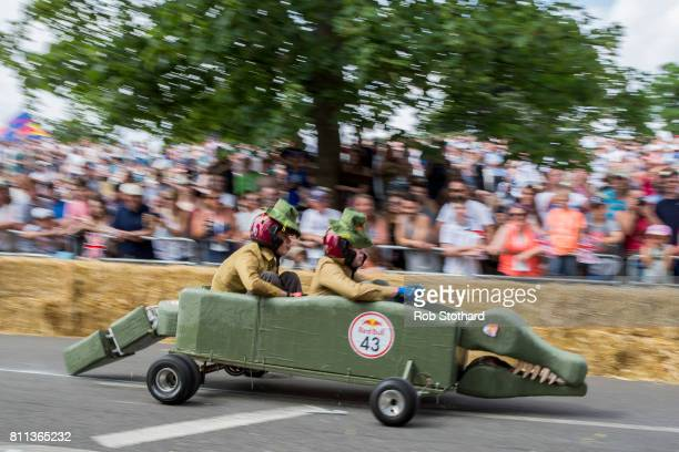 Team Loughborough Bindi's races down the course during the Red Bull Soapbox Race at Alexandra Palace on July 9 2017 in London England The event in...