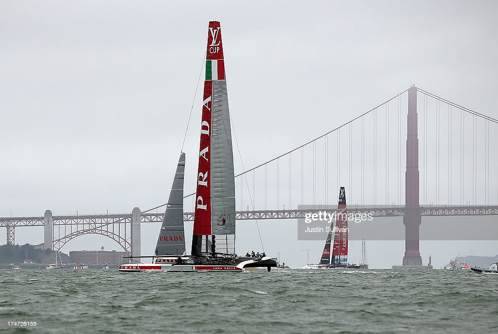 Team Luna Rossa Challenge (L) skippered by Massimiliano Sirena and Emirates Team New Zealand (R) skippered by Dean Barker in action during the Louis Vuitton Cup Round Robin 5 on July 28, 2013 in San Francisco, California. The winner of the Louis Vuitton Cup goes on to race against Oracle Team USA in the America's Cup Finals that start on September 7. Emirates Team New Zealand won the race.