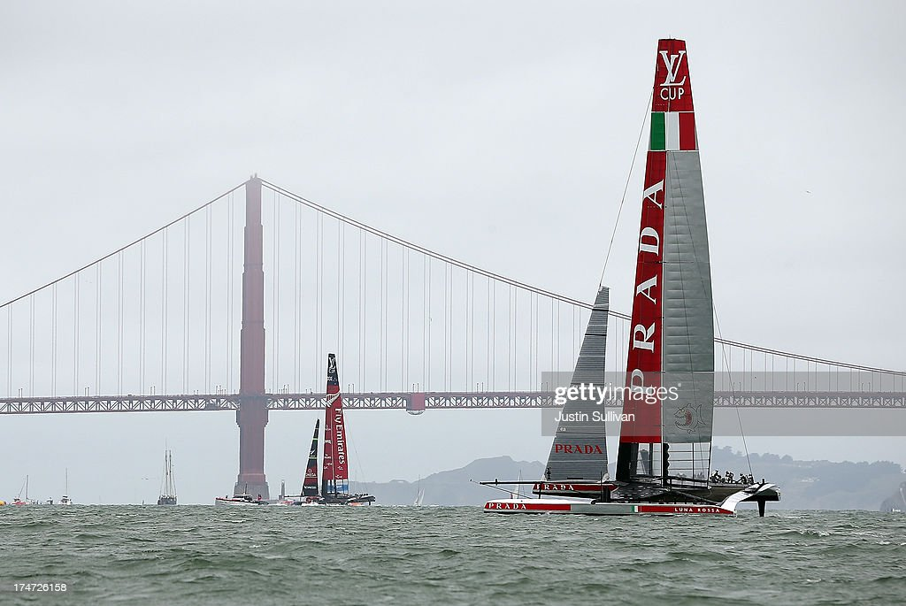 Team Luna Rossa Challenge (R) skippered by Massimiliano Sirena and Emirates Team New Zealand (L) skippered by Dean Barker in action during the Louis Vuitton Cup Round Robin 5 on July 28, 2013 in San Francisco, California. The winner of the Louis Vuitton Cup goes on to race against Oracle Team USA in the America's Cup Finals that start on September 7. Emirates Team New Zealand won the race.