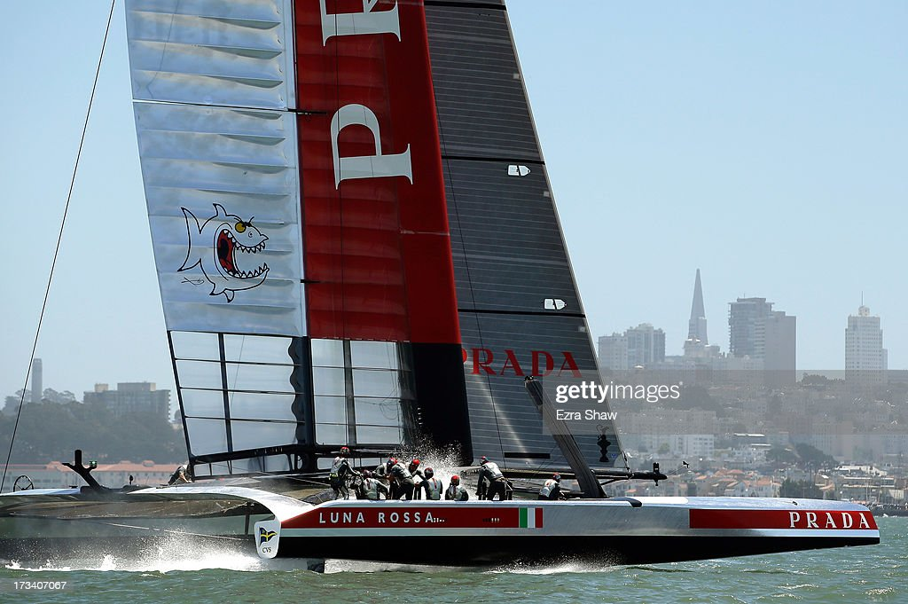 Team Luna Rossa Challenge skippered by <a gi-track='captionPersonalityLinkClicked' href=/galleries/search?phrase=Massimiliano+Sirena&family=editorial&specificpeople=2225310 ng-click='$event.stopPropagation()'>Massimiliano Sirena</a> in action during round two of the round robin racing of the Louis Vuitton Cup between Luna Rossa Challenge and Emirates Team New Zealand on July 13, 2013 in San Francisco, California. The winner of the Louis Vuitton Cup goes on to race against Oracle Team USA in the America's Cup Finals that start on September 7.
