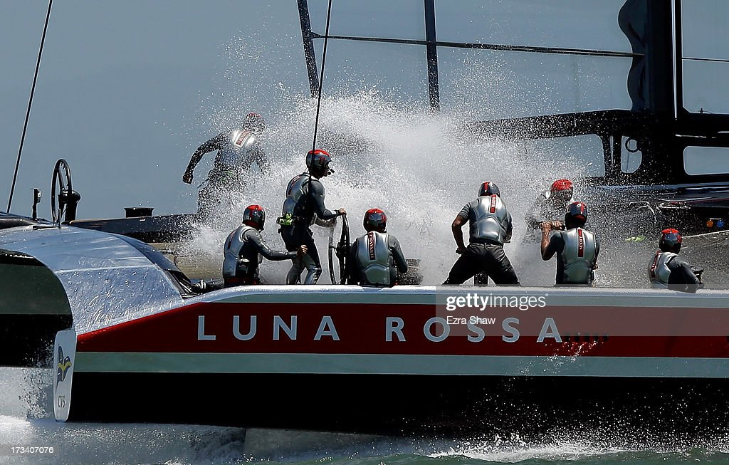Team Luna Rossa Challenge skippered by <a gi-track='captionPersonalityLinkClicked' href=/galleries/search?phrase=Massimiliano+Sirena&family=editorial&specificpeople=2225310 ng-click='$event.stopPropagation()'>Massimiliano Sirena</a> trains before the start of their round robin race against Emirates Team New Zealand in the Louis Vuitton Cup on July 13, 2013 in San Francisco, California. The winner of the Louis Vuitton Cup goes on to race against Oracle Team USA in the America's Cup Finals that start on September 7.
