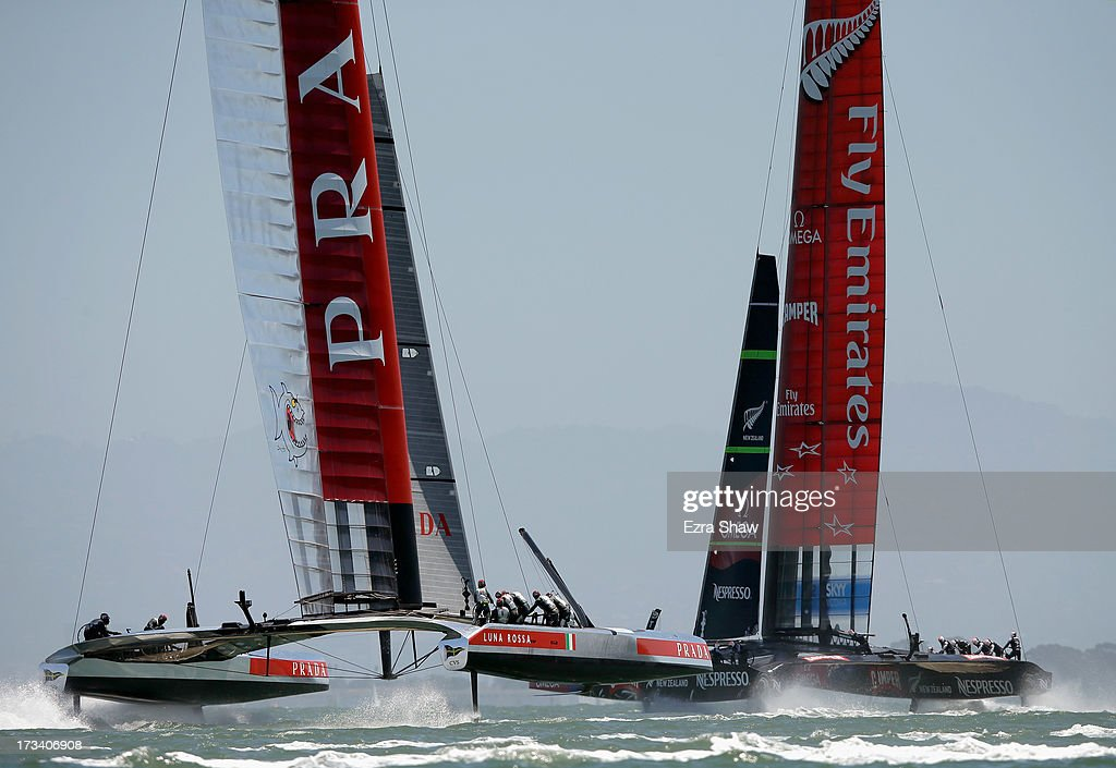 Team Luna Rossa races against Emirates Team New Zealand during round two of the round robin racing of the Louis Vuitton Cup on July 13, 2013 in San Francisco, California. The winner of the Louis Vuitton Cup goes on to race against Oracle Team USA in the America's Cup Finals that start on September 7.