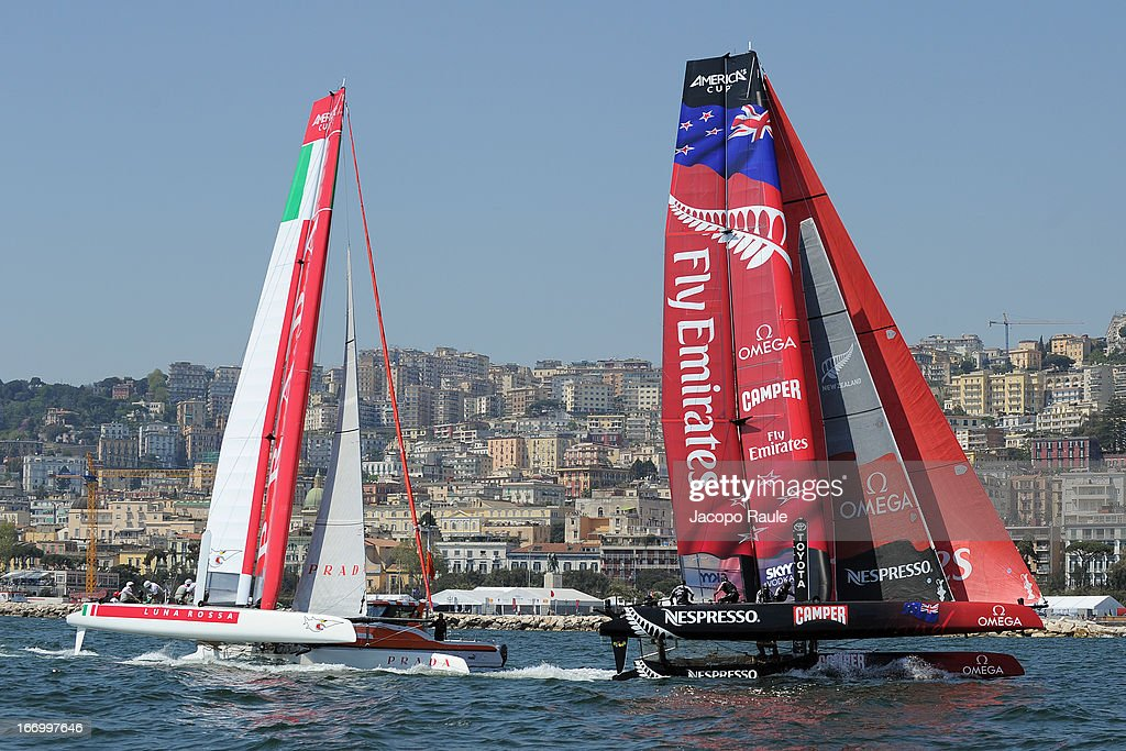 Team Luna Rossa Swordfish skippered by <a gi-track='captionPersonalityLinkClicked' href=/galleries/search?phrase=Francesco+Bruni&family=editorial&specificpeople=2443535 ng-click='$event.stopPropagation()'>Francesco Bruni</a> of Italy and Emirates Team New Zealand skippered by <a gi-track='captionPersonalityLinkClicked' href=/galleries/search?phrase=Dean+Barker&family=editorial&specificpeople=636929 ng-click='$event.stopPropagation()'>Dean Barker</a> of New Zeland compete in Quarter Finals during America's cup World Series Naples on April 19, 2013 in Naples, Italy.