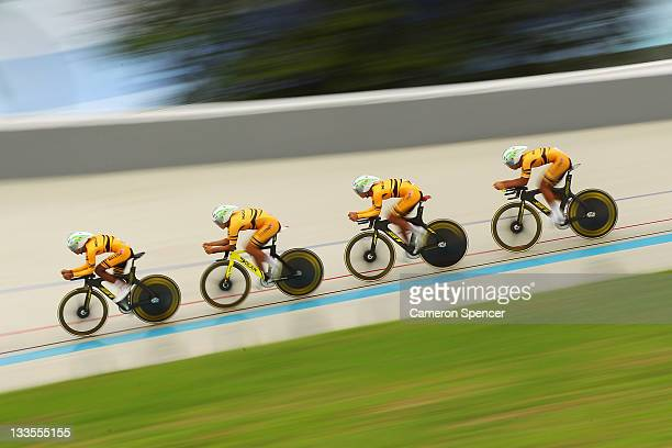 Team Malaysia compete in the final of the Men's 4000m Team Pursuit on day 10 of the 2011 Southeast Asian Games at Rawamangun Velodrome on November 20...