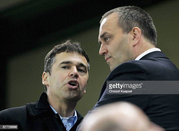 Team manager Andreas Rettoig of Cologne talks to chairman Claus Horstmann of Cologne during the 2 Bundesliga between 1 FC Cologne and Spvgg...