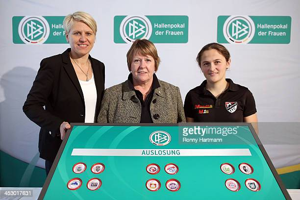 Team manager Doris Fitschen of the Germany Women's National Team DFB vice president Hannelore Ratzeburg and Anne Bartke of Magdeburger FFC attend the...